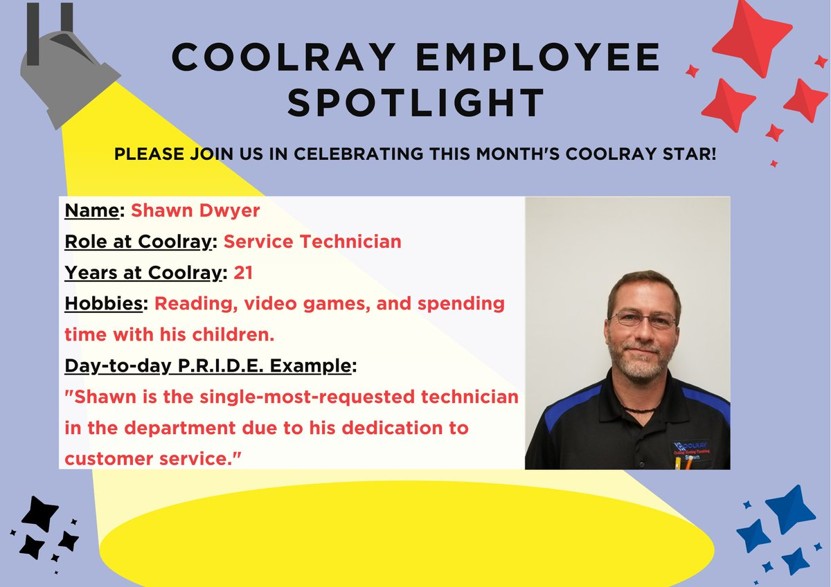 In honor of #EmployeeAppreciationDay, we are proud to debut our first Coolray Employee Spotlight star, Service Tech Shawn Dwyer! 🌟  Our Coolray team is made up of so many incredible employees, and it's days like today that are simple reminders of how fortunate we are.