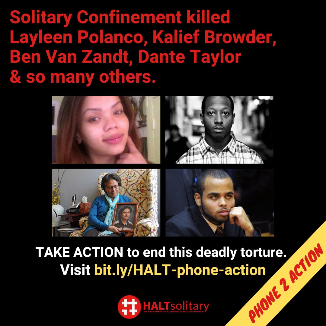In New York, people are locked in solitary confinement for weeks, months, years—even decades. Theyre disproportionately Black and Brown people, and people with mental illness. New York must #HALTsolitary and end this racist torture. TAKE ACTION: bit.ly/HALT-phone-act…