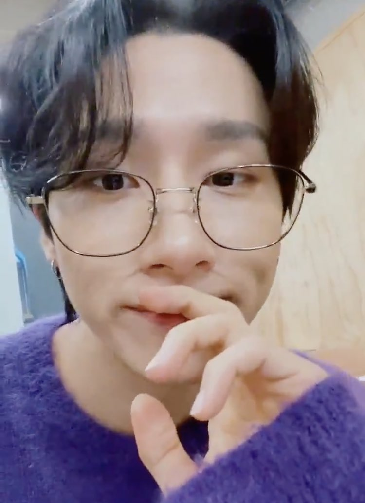 look at him being all cozy wearing a sweater in his fave color and specs while flashing his cute dimples 💜 counting down the hours until i see you again, my love @OfficialMonstaX!  #IM #아이엠 #MONSTAX #MX_UNIVERSITY