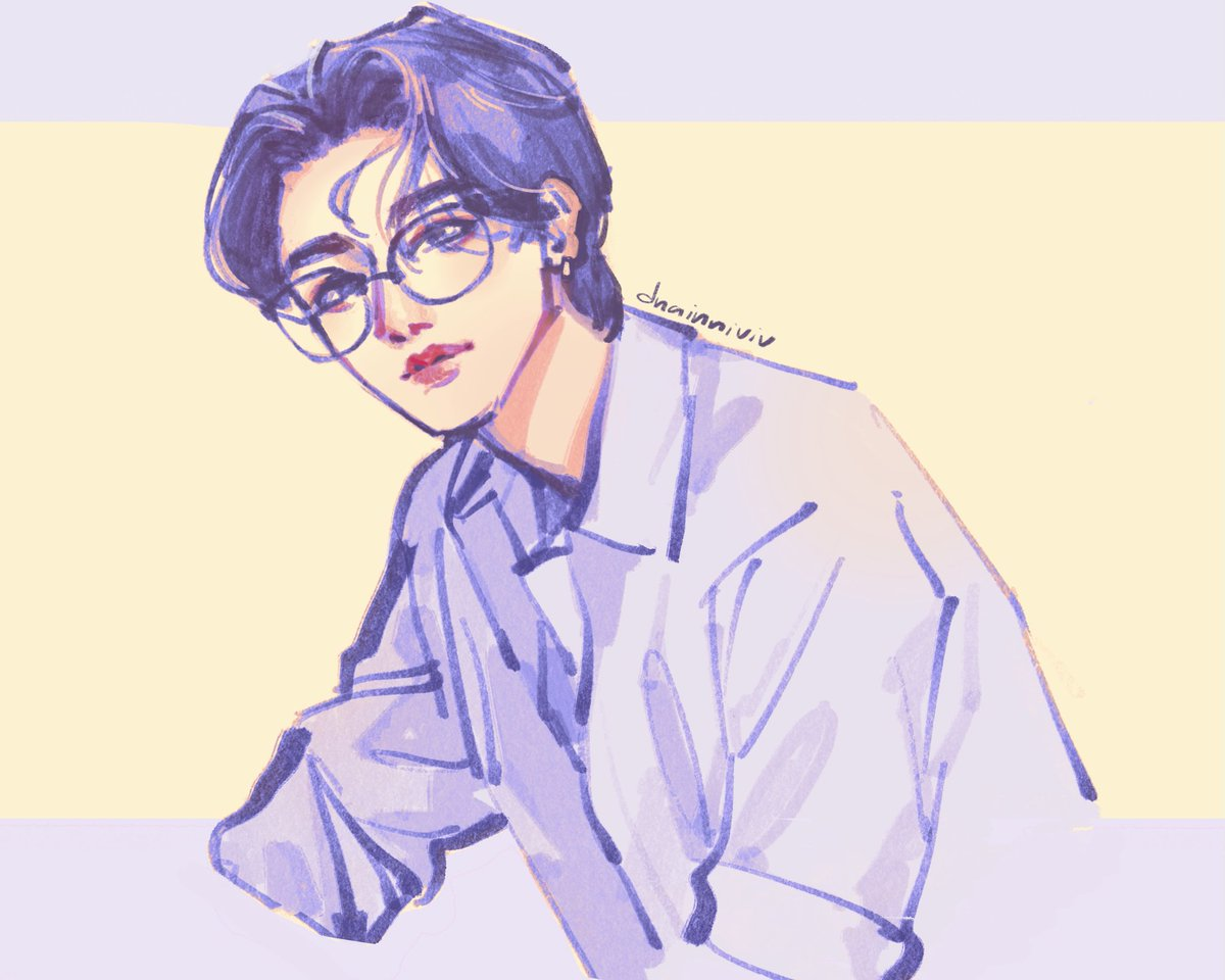 Quick sketch of Changkyun with glasses because he is too cute--😭💖✨  #MONSTA_X #IM #아이엠 #CHANGKYUN #monstaxfanart