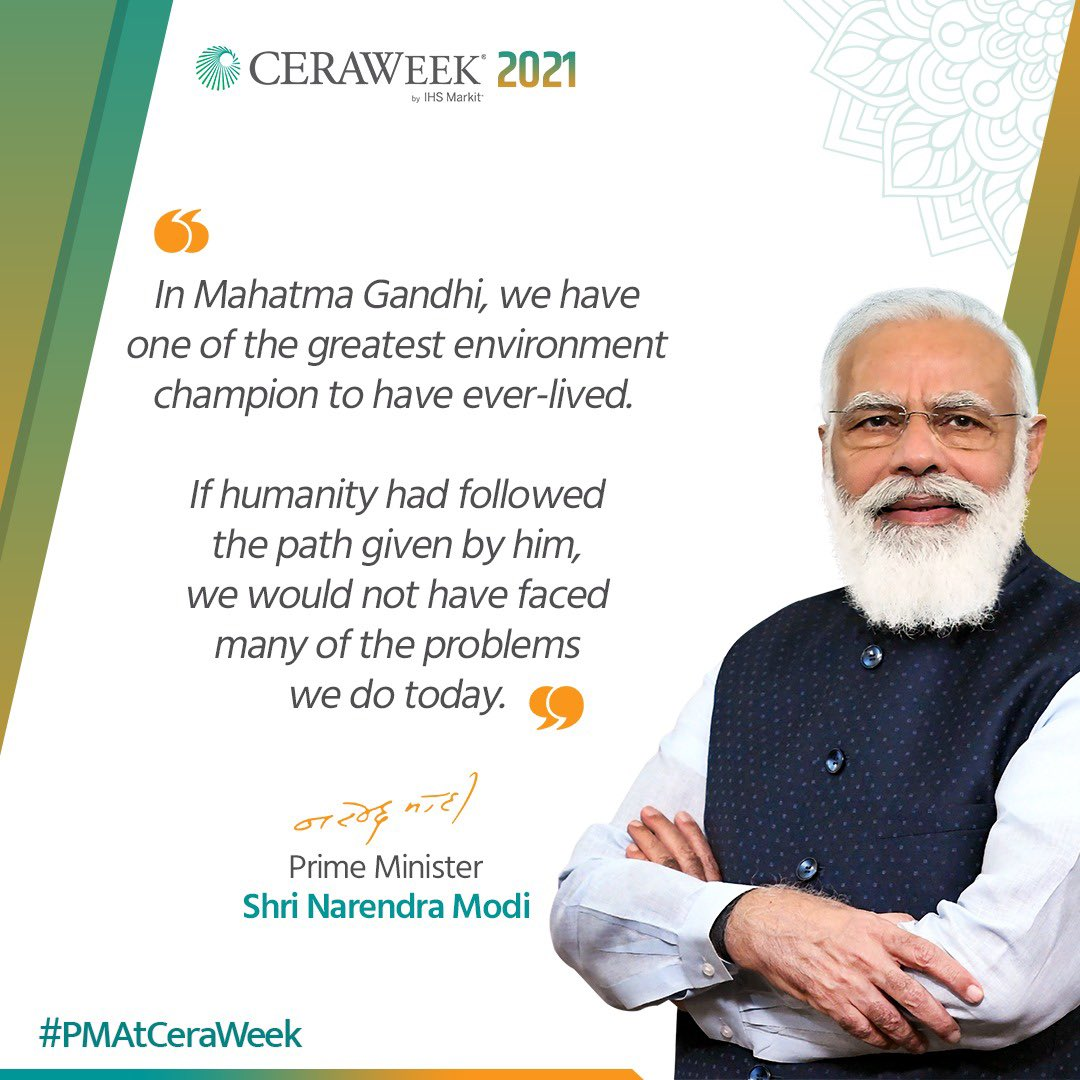 RT @dpradhanbjp: Mahatma Gandhi was one of the greatest environment champions to have ever-lived.#PMAtCeraWeek https://t.co/C85rGyDtPa