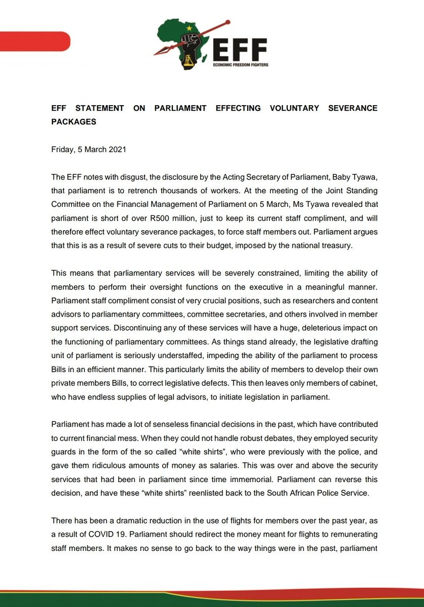 EFF Statement On Parliament Effecting Voluntary Severance  Packages https://t.co/95NMnNH3nm