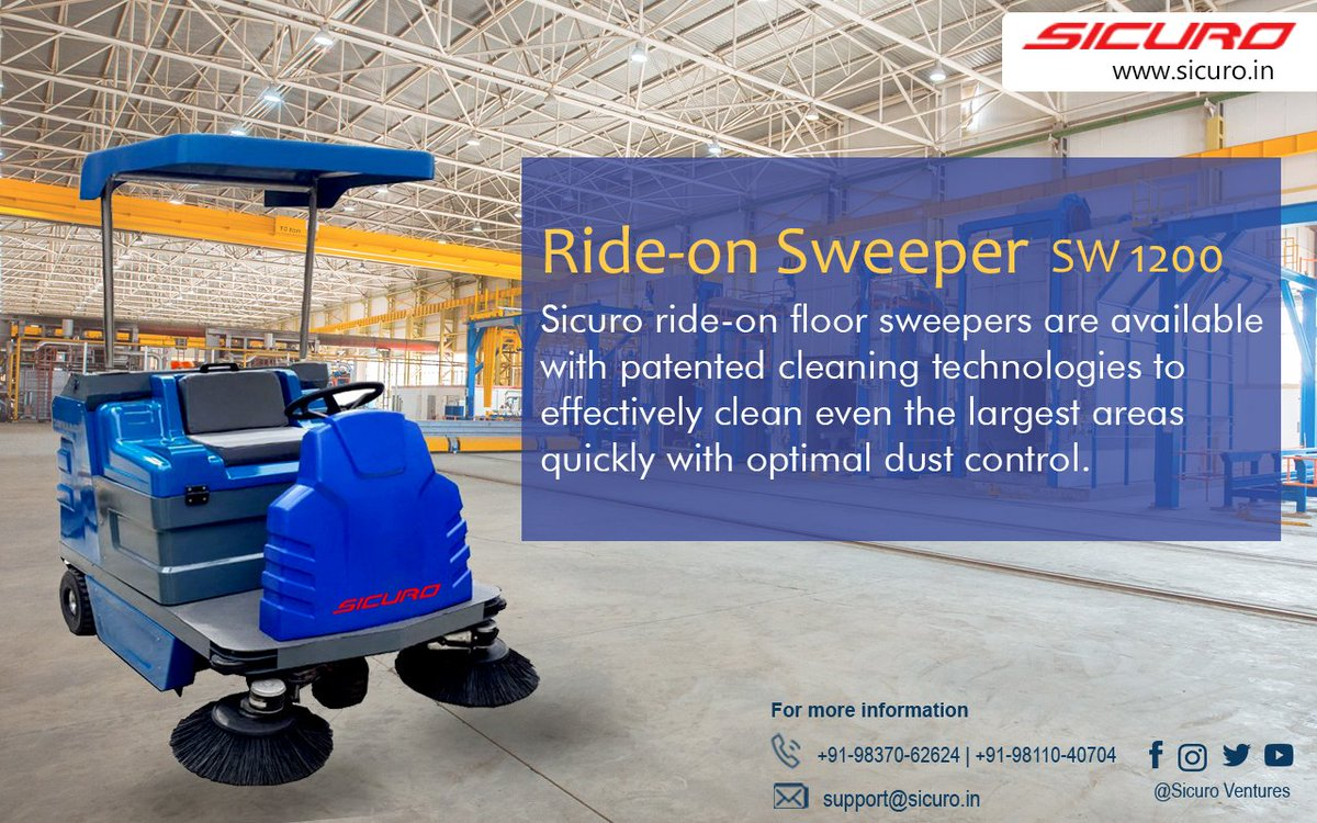 Ride-on Sweeper SW 1200 are patented cleaning technologies to effectively clean even the largest areas quickly with optimal dust control. #Sicuro #Highpressurewasher #CleaningEquipment #SicuroHighpressure #cleaningproducts #sicuroscrubber #sicurosweeper #cleanindia #Clean