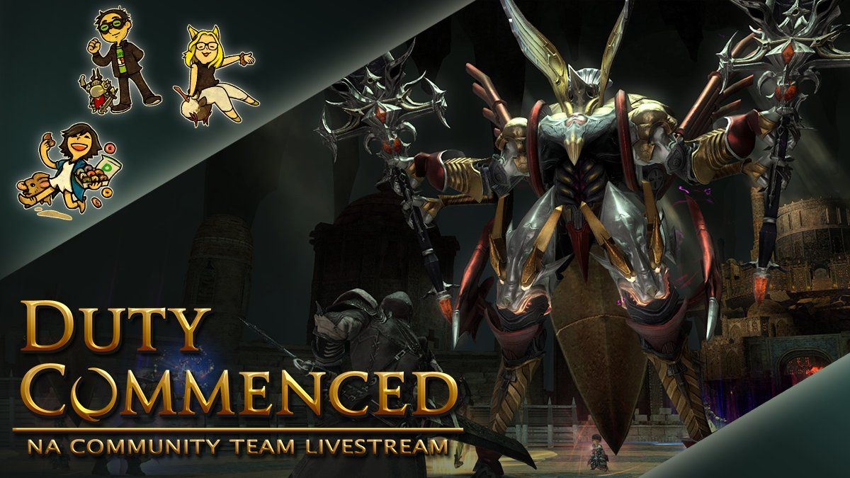 Join us later today in #FFXIV for Duty Commenced! We'll be gathering in Ul'dah at the Emerald Avenue around 3pm (PST) / 6pm (EST) on the Zalera World.  📸 Screenshots ⚔️ Delubrum Reginae 🎨 Community Commendations   Details 🌐