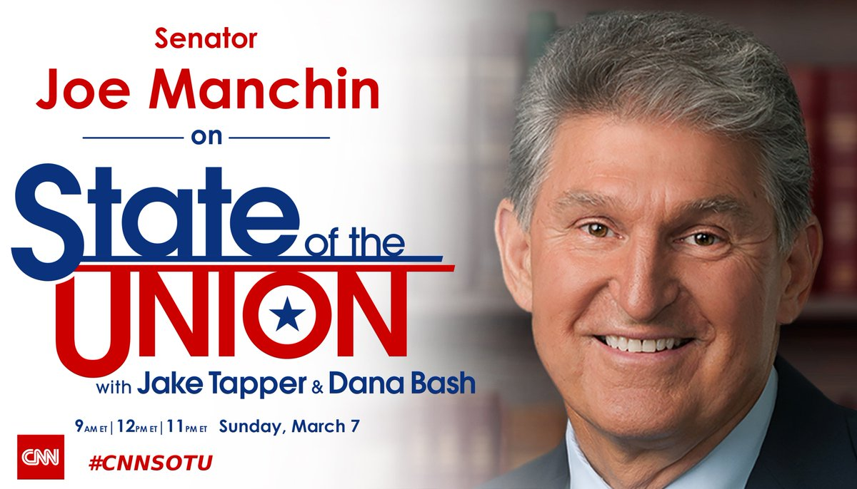 Replying to @CNNSotu: SUNDAY: @Sen_JoeManchin joins @jaketapper on #CNNSOTU. Tune in!