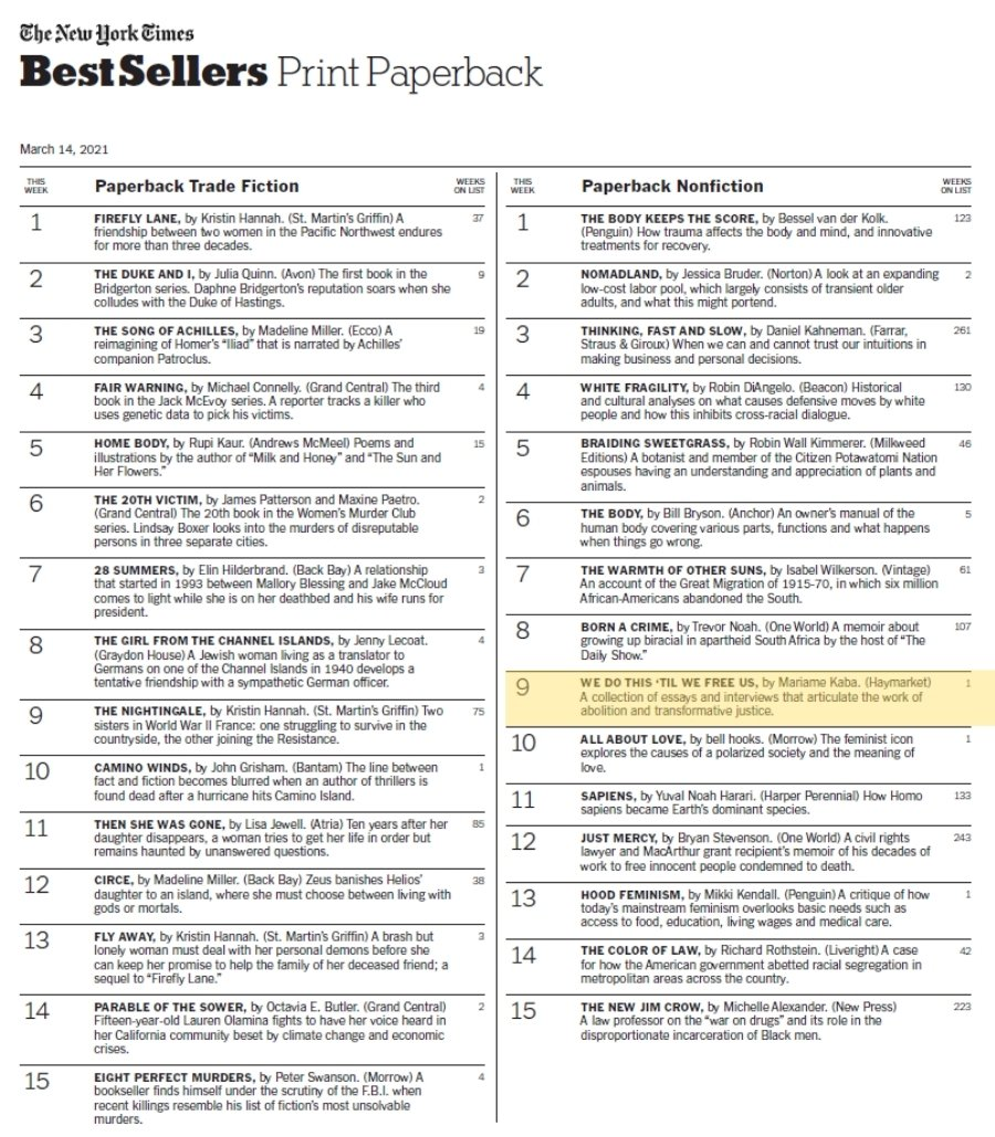 Congratulations, @prisonculture! 💐  WE DO THIS 'TIL WE FREE US is officially a New York Times Bestseller in its first week of publication.