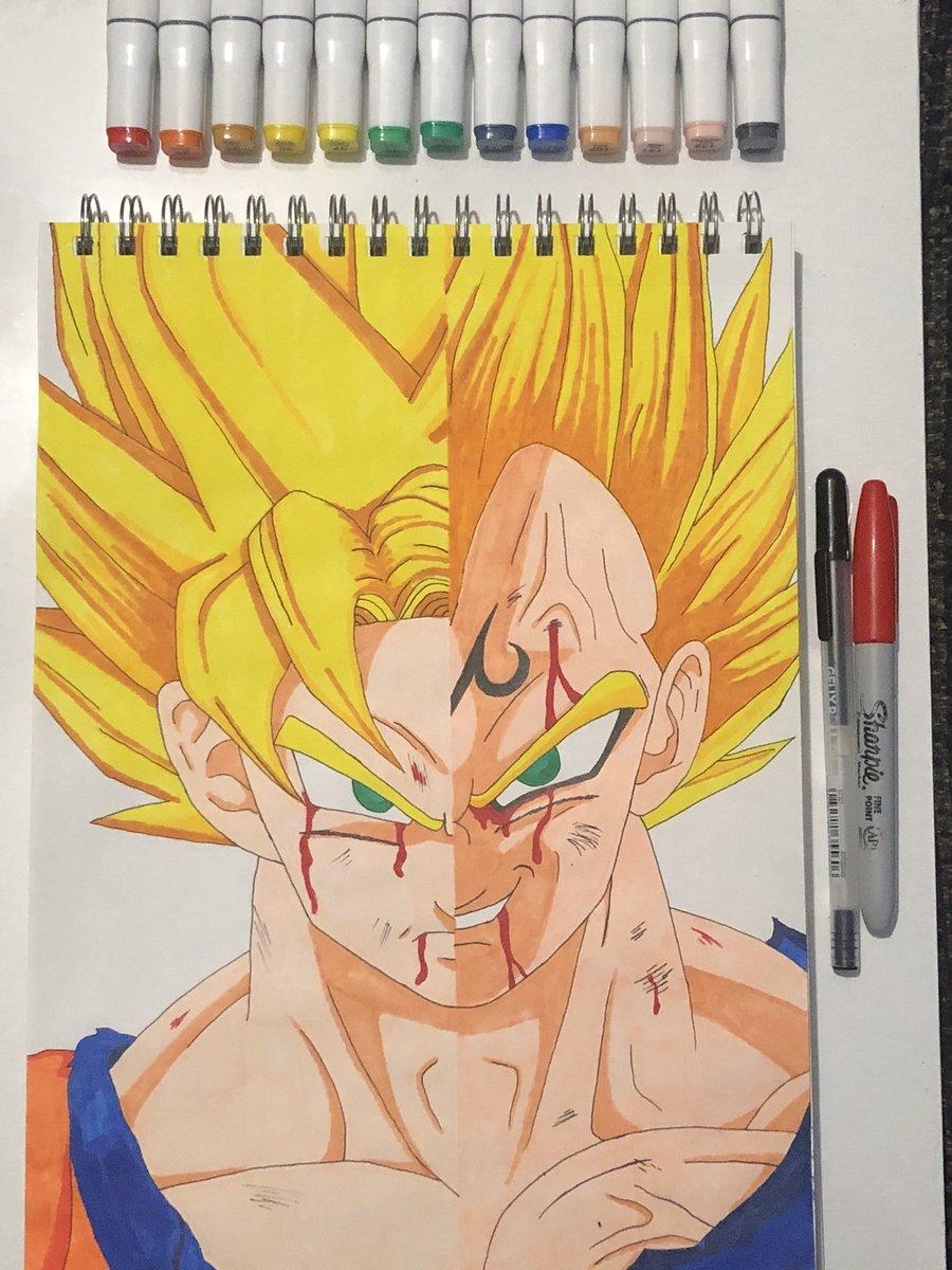 #DragonBallZ #Goku #MajinVegeta #Anime #Art