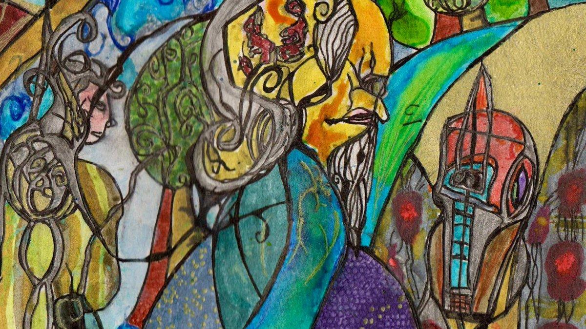 Defeat the Bug (detail) painted 2020. More at . #illustration #art #artwork #artist #bizzare #colour #colours #swirl #illustrationartist #sorcery  #sorceror #warlock #gothic #malbique #fantasyart #fantasy #illustrator #bug #magic #magical #ArtistOnTwitter