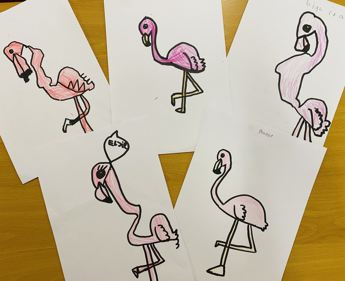 Check out our AMAZING flamingos in KS1 🦩 😍 #flamingo #art #artists #pink
