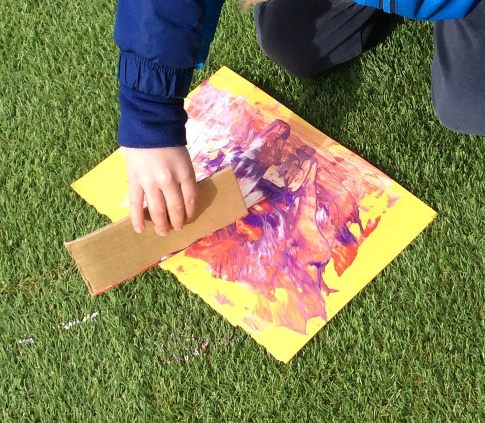 The year 1 bubble became artists without paintbrushes. We used different techniques including scraping and flicking with paint. #art #creativity