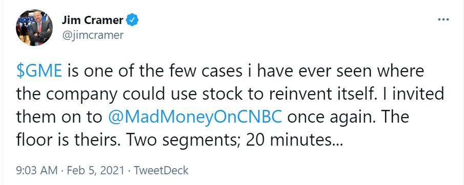 If only $GME and @ryancohen took the advice of @jimcramer and raised equity at $50 per share... 🤢