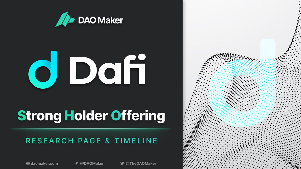 $DAFI SHO Update Timeline👇 5.3. - Community round starts Join Here: forms.gle/mAV7WR2r2oDtnX… 10.3 - Merit round starts 14.3 - Community round applications deadline 16.3 - Merit round closes, winners selection 17.3 - Scheduled TGE Research Page 👉daomaker.com/sho/Dafi