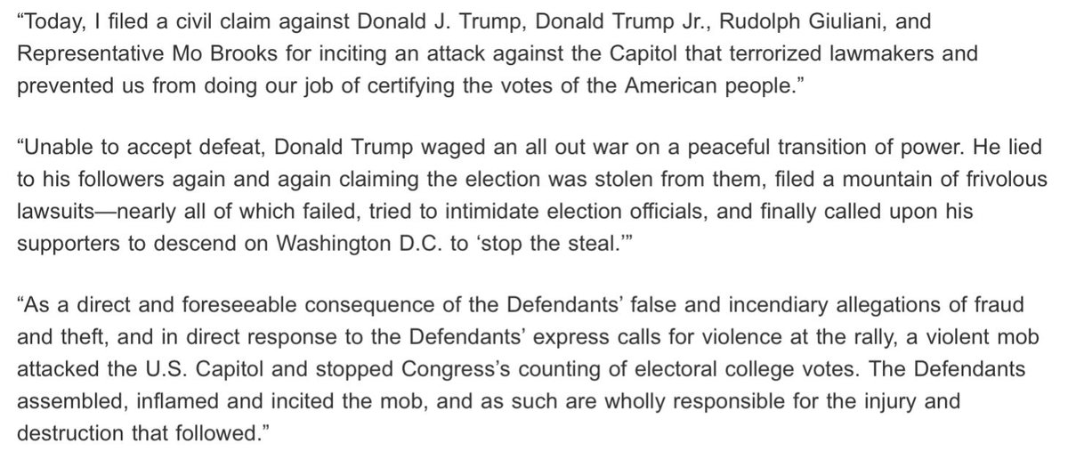 Today, I filed a civil claim against Donald Trump, Donald Trump Jr., Rudolph Giuliani, and Rep. Mo Brooks for inciting an attack against the Capitol that terrorized lawmakers and prevented us from certifying the votes of the American people.   My statement: https://t.co/3BkbvX8WHe