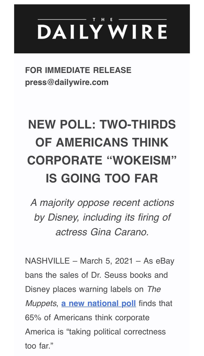 🚨New poll from @realDailyWire: 65% of Americans say corporate political correctness is going too far. 78% of Americans oppose @Hasbro renaming Mr. Potato Head. 72% of Americans say @ginacarano didn't deserve to get fired over her social media post after seeing it.