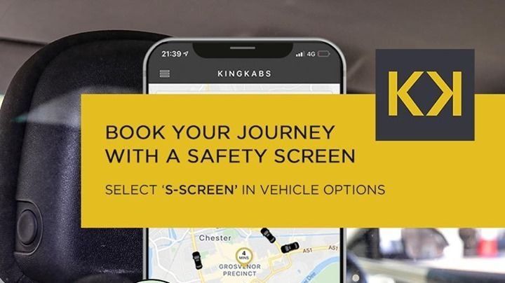 𝗠𝗜𝗡𝗜𝗠𝗜𝗦𝗘 𝗖𝗢𝗡𝗧𝗔𝗖𝗧 𝗜𝗡 𝗧𝗪𝗢 𝗧𝗔𝗣𝗦 ✅ Minimise contact during your journey and request a safety screen-fitted vehicle when you travel by the KingKabs app! 🙌  Download the FREE app today →  📲 #SafetyScreens #FridayFeeling #Chester