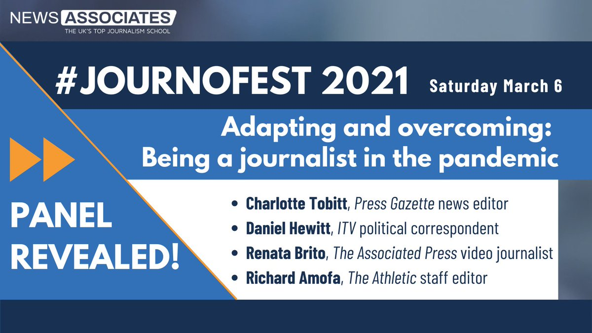 Its time to announce our first panel for #JournoFest tomorrow! 🎉 Well be hosting @CharlotteTobitt, @DanielHewittITV, @RenataBritoAP and @RichardAmofa to discuss the realities of being a journalist throughout the pandemic 😷