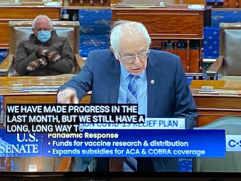 Bernie on that stim #Berniememes #bernie #BernieSanders #CovidReliefBill #StimulusCheck #stimuluspackage