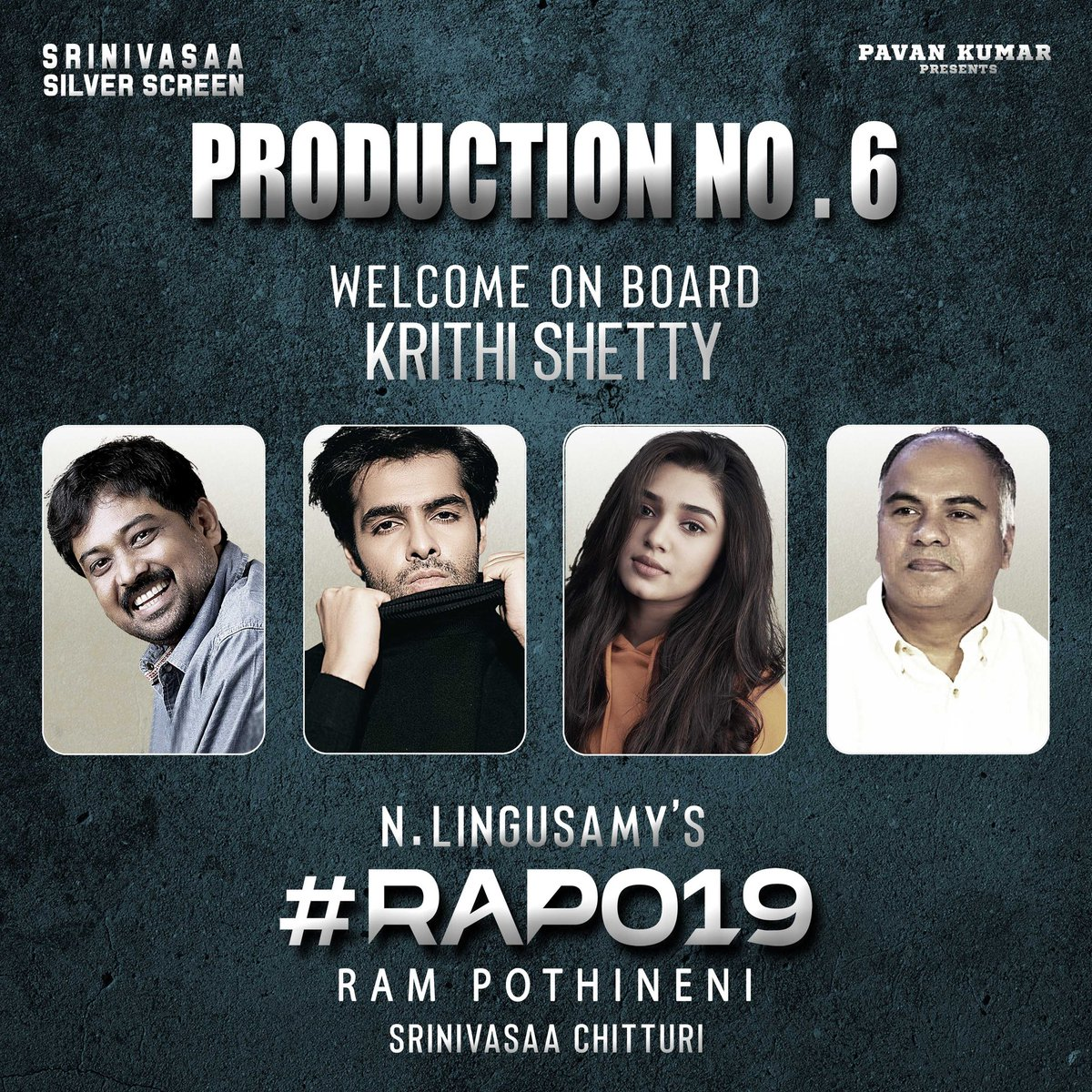 #Uppena fame #KrithiShetty onboard for #RAPO19  A bilingual project by #Lingusamy & Produced by #SrinivasaaChitturi.    #RAmPOthineni  @dirlingusamy @ramsayz @IamKrithiShetty @SS_Screens