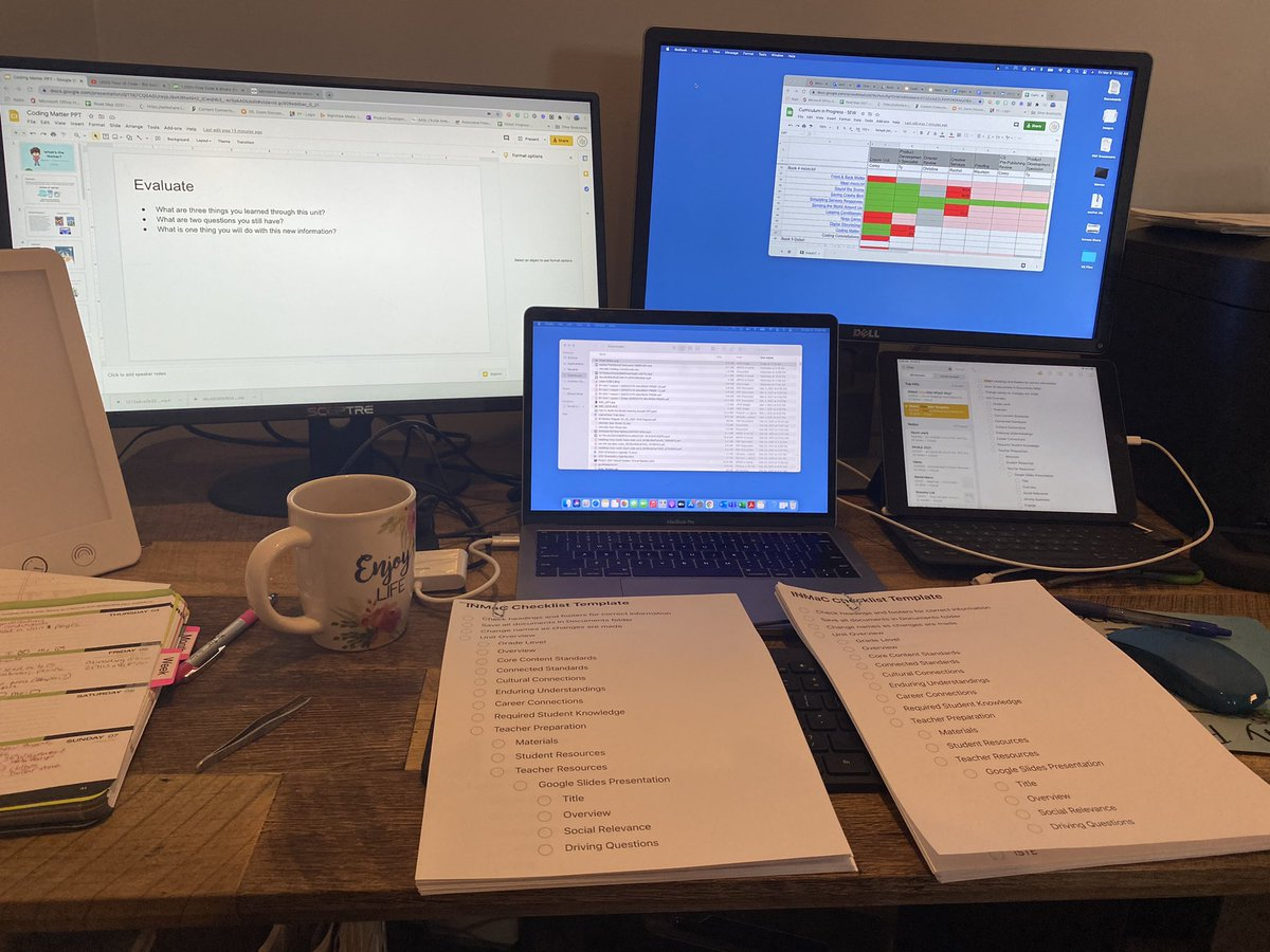 Real life #WorkFromHome desk situation. Editing multiple units and I'm on my 4th cup of #coffee. #editing #curriculum #screenoverload