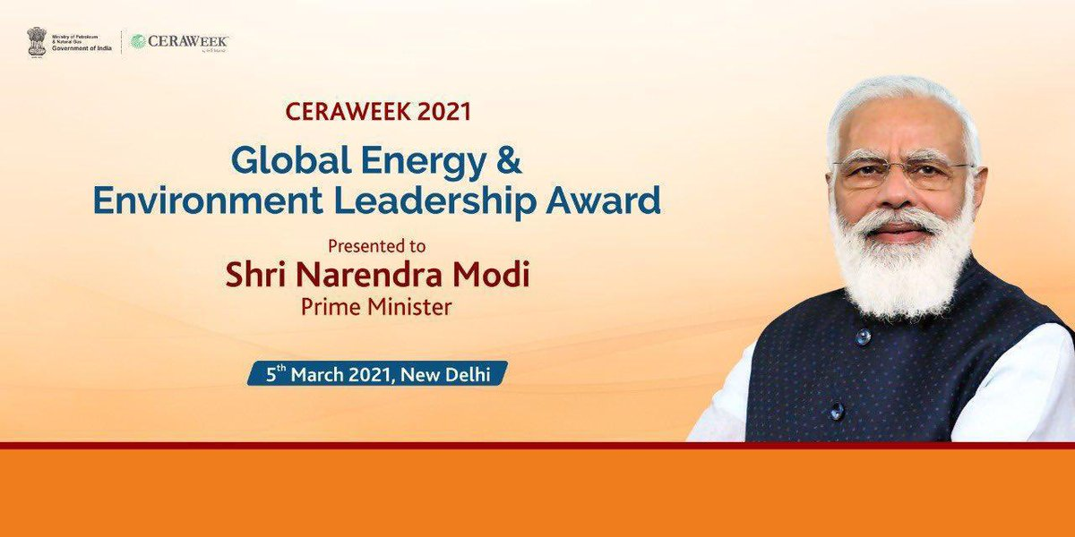 Presentation of the prestigious #CERAWeek Global Energy & Environment Leadership Award to Honble PM Shri @narendramodi Ji is a testimony to his commitment to sustainable development & the initiatives of GoI under his visionary leadership. @AmitShah @JPNadda @MEAIndia
