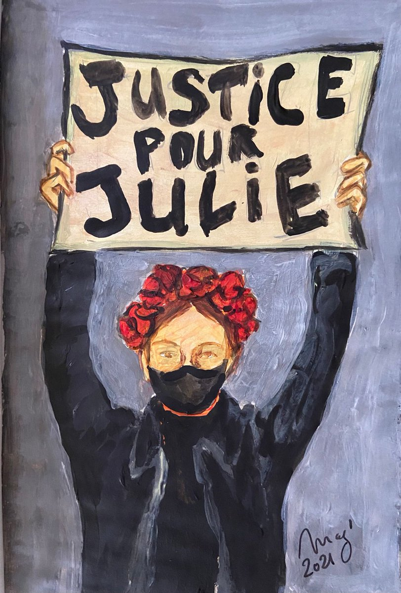 #FF #FeministFriday #justicePourJulie #MeToo #metooinceste Julie accused 22 firefighters of raping her between 2008 and 2010. Acrylic sketch @mag_tranchant