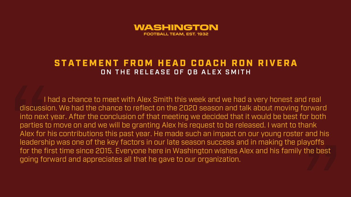 We have released QB Alex Smith