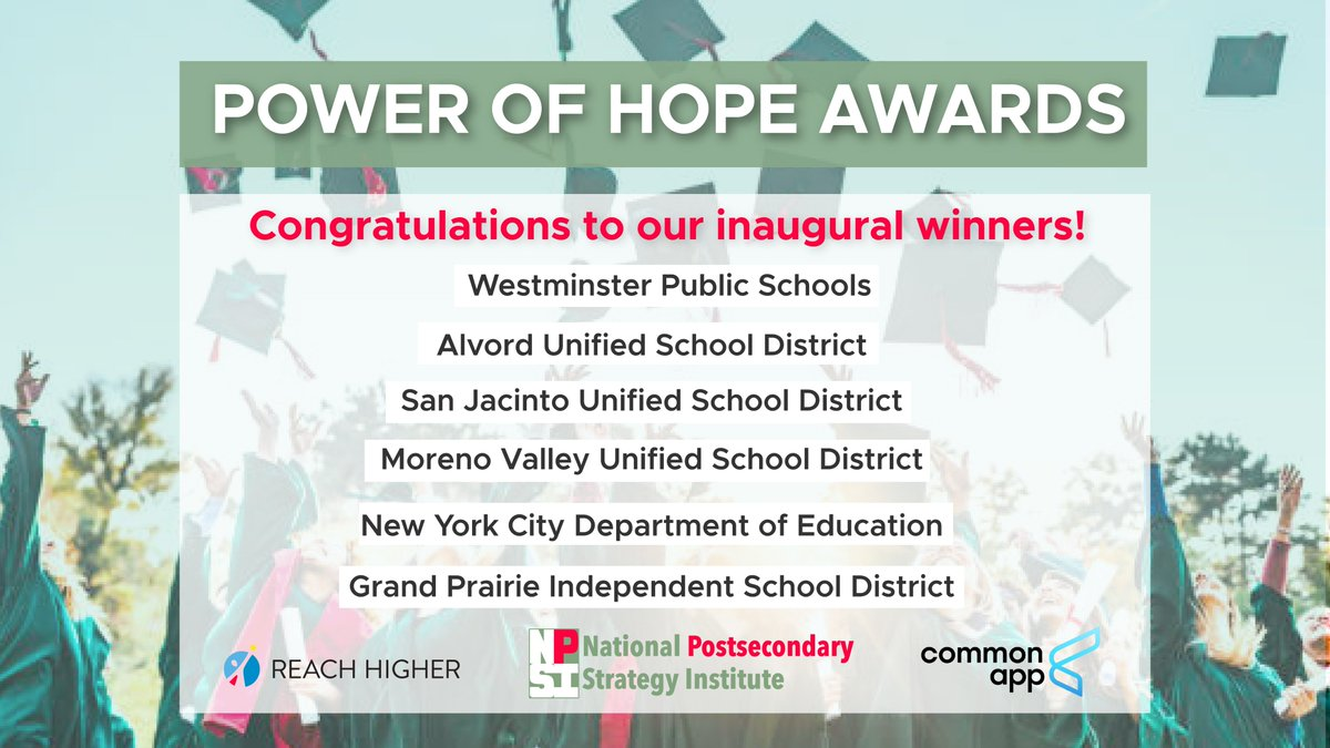 School counselors can make a huge difference in the lives of students and that's why we've partnered with @NPSI_Believe and @CommonApp to recognize school districts that believe in their school counselors! Congrats to the winners of the inaugural Power of Hope Award 🏆