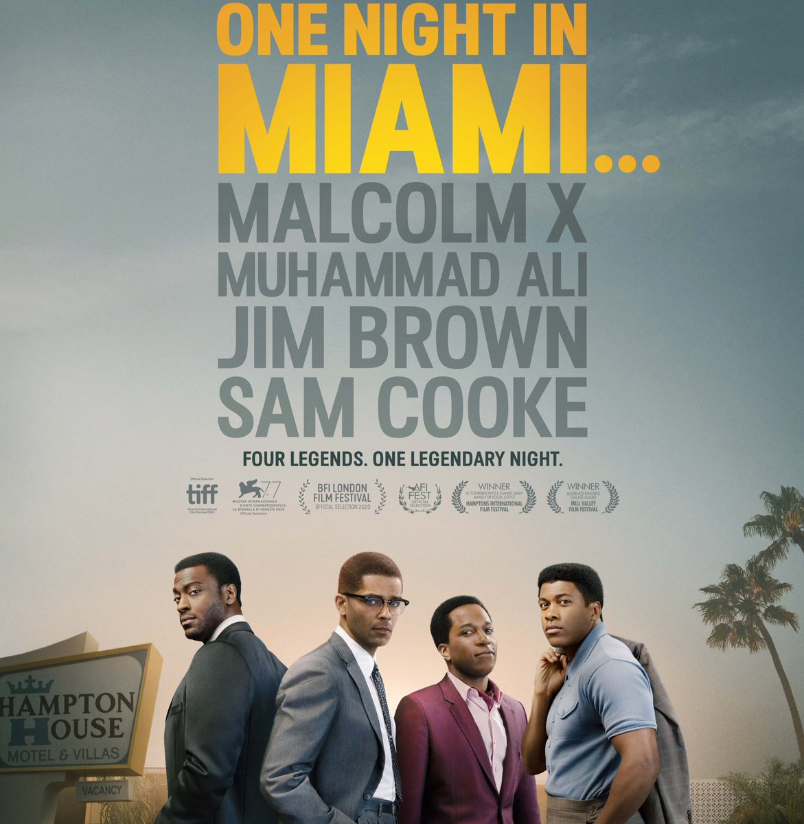 "#OneNightInMiami  Inspirational stuff…from #KempPowers😇(what a ""2nd"" career he's having!). Inspiring story well-told by #ReginaKing(yes that RK). Great cast all around, lead quartet is aces, esp young #EliGoree & always-great #AldisHodge(man, that scene with #BeauBridges😳!)."