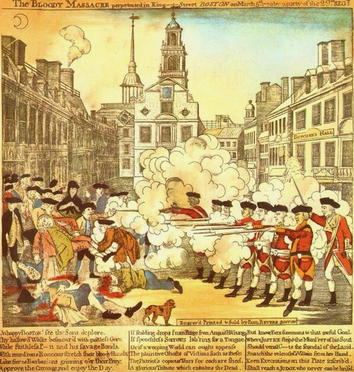 Boston Massacre was today 1770—here depicted by the impassioned Paul Revere: https://t.co/qFmepNnleN