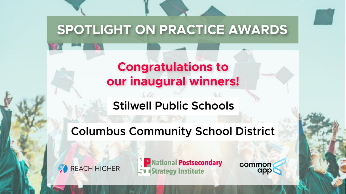 And congratulations to our Spotlight on Practice Award winners who developed district-wide practices to help all students reach higher for an additional credential beyond a high school diploma 👏 #NPSIBelieves21
