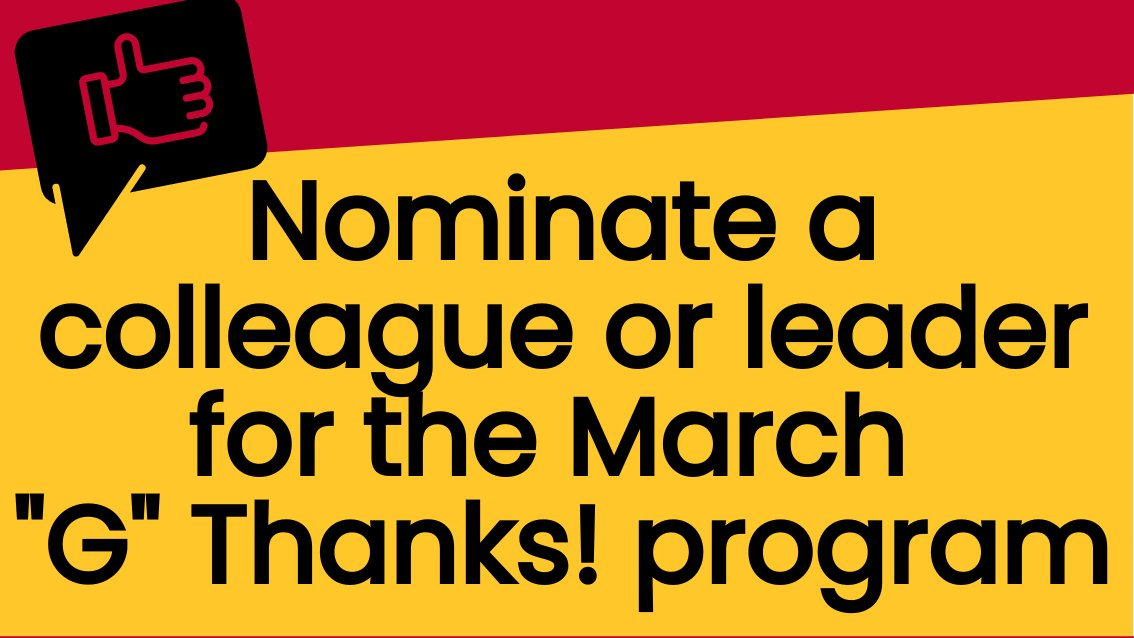 """Looking for some tools to help you show recognition or appreciation for your #UofG colleagues on #EmployeeAppreciationDay? Explore the GREAT at U of G website and nominate someone for the March """"G"""" Thanks award!   Learn more:"""