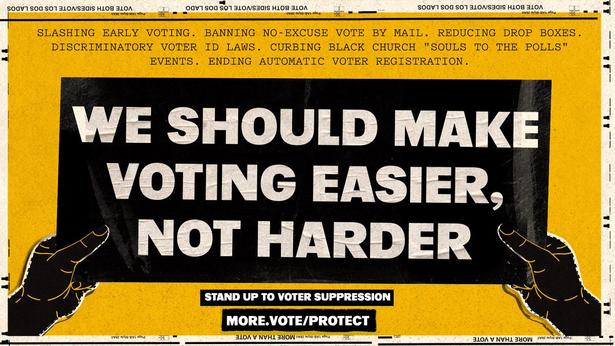 Look at how they're trying to silence us: 🛑 slashing early voting 🛑 curbing Black church voting drives 🛑 banning no-excuse vote by mail 🛑 ending automatic voter registration  Black voters already wait in the longest lines. Why make voting harder?