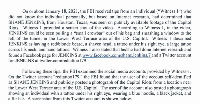 """Internet sleuths helped the feds bust a Texas man who brawled with cops during the Capitol insurrection.  Shane Jenkins has """"MAMA TRIED"""" tattooed across his neck. #SeditionHunters"""