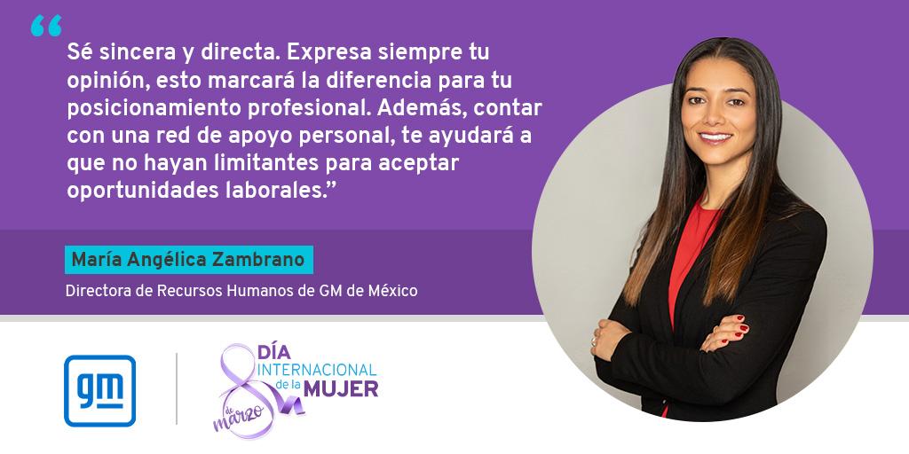 En el marco del Día Internacional de la Mujer, María Zambrano, nuestra Directora de Recursos Humanos, comparte un consejo para las mujeres que están empezando su vida laboral. 👇#DíaDeLaMujer #MujeresGM #8M #ChooseToChallenge #IWorkForGM https://t.co/r39wfP9nbr