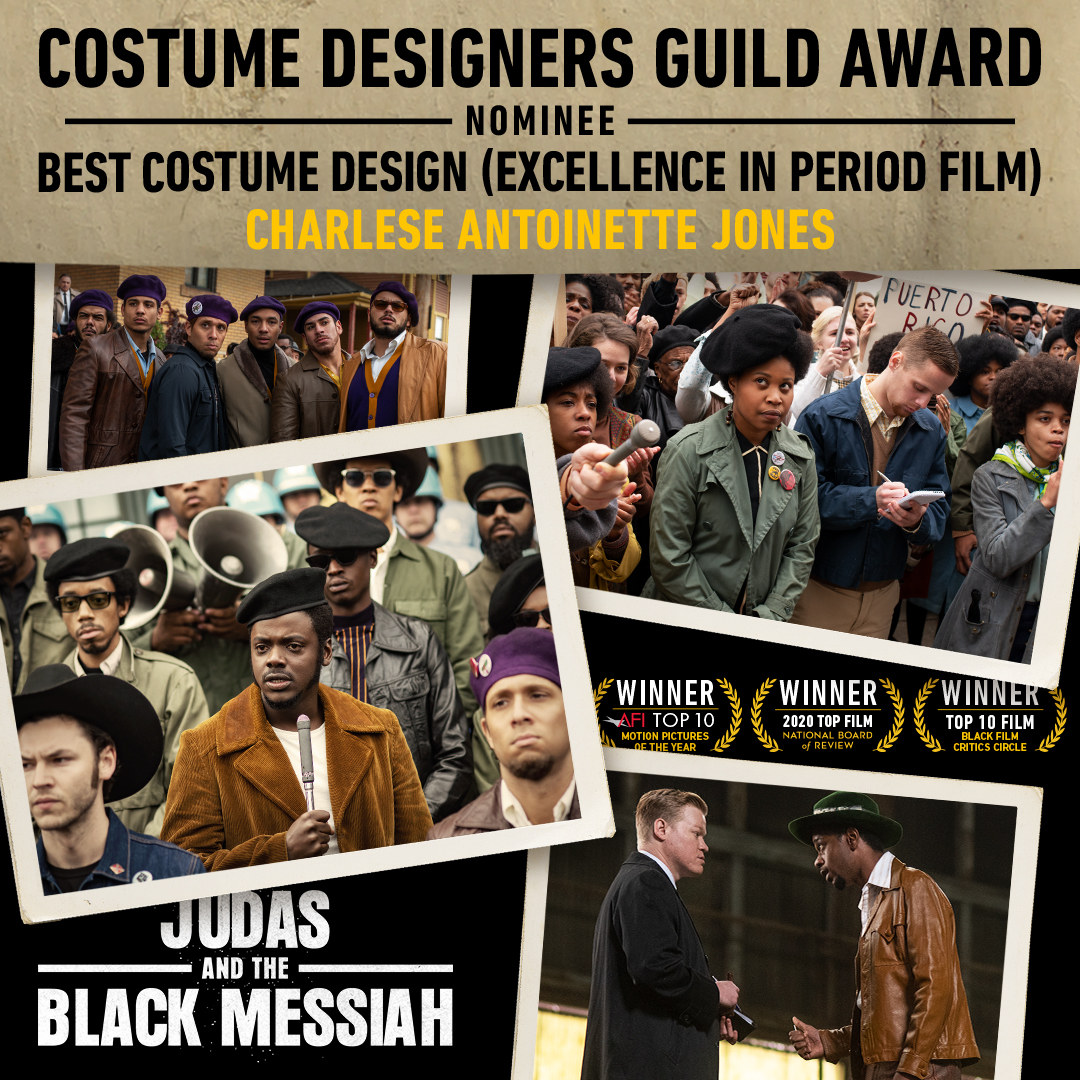 The @CostumeAwards has nominated #JudasAndTheBlackMessiah for Excellence in Period Film! Massive congratulations to our Costume Designer, @CharleseDesigns! #CDGA @CDGlocal892