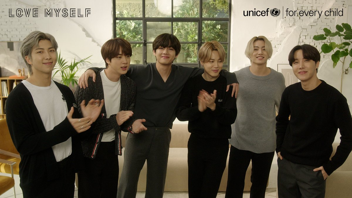 We love to see it!  During the pandemic, @BTS_twt's messages of solidarity have given hope to children and young people everywhere. In their continued commitment to UNICEF, they're working to make the world a kinder place. #BTSLoveMyself 👉