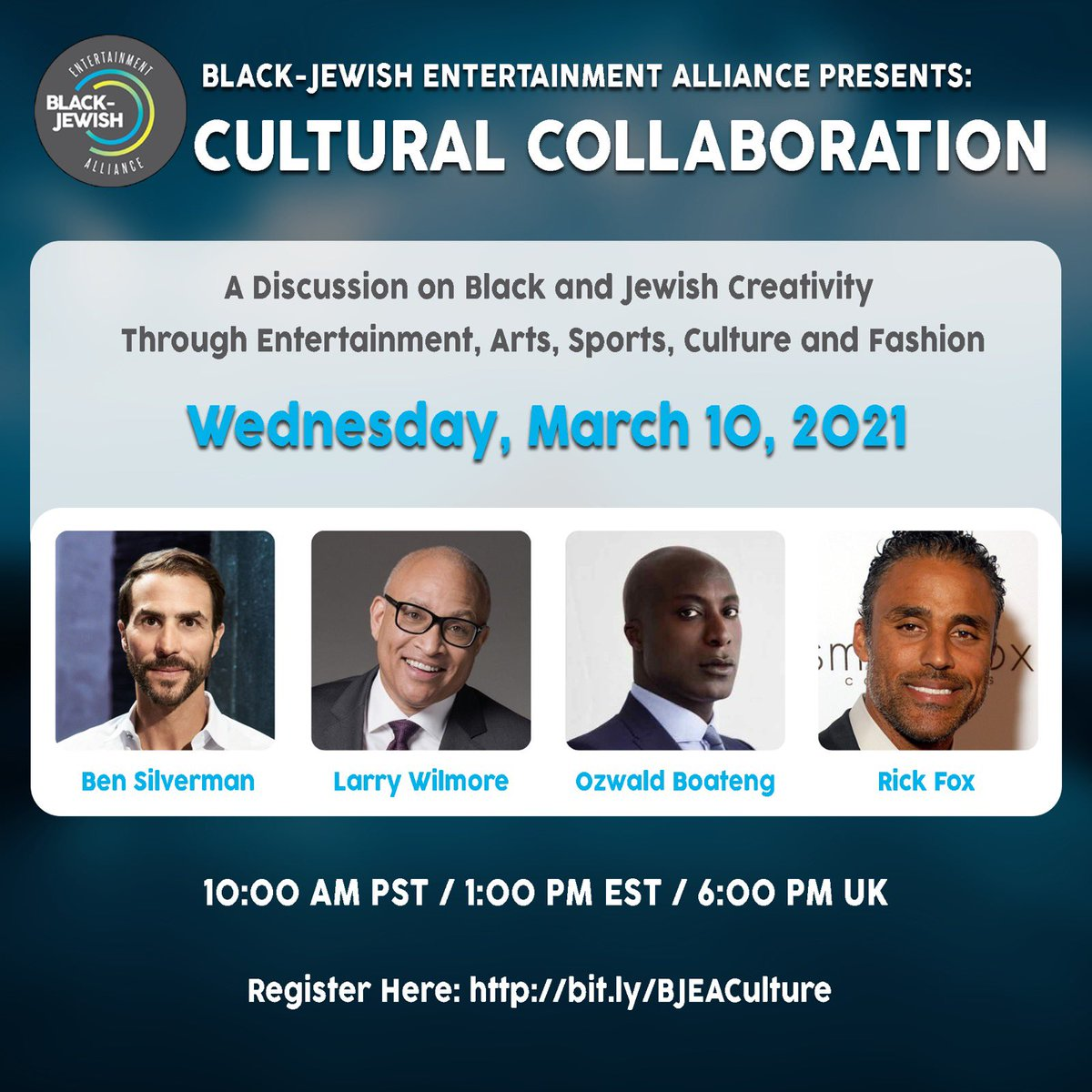 Join us on Wednesday, March 10th at 10AM PST for a a discussion on Black and Jewish Creativity Through Entertainment, Arts, Sports, Culture and Fashion.  In Conversation: @Ozwald_Boateng @RickFox Ben Silverman and @larrywilmore   Register here:   #BJEA