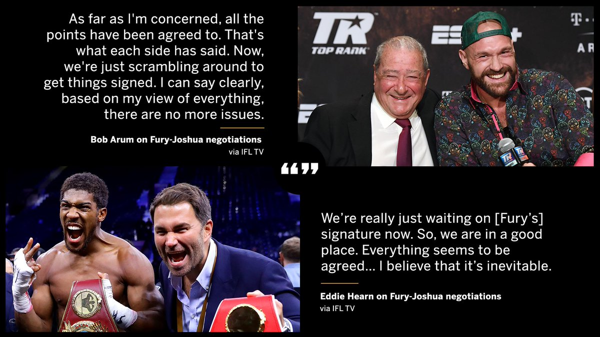 Both Bob Arum and Eddie Hearn say the only thing left to do for Fury-Joshua is to sign the contracts ✍️ https://t.co/ZmtKAaMsCW