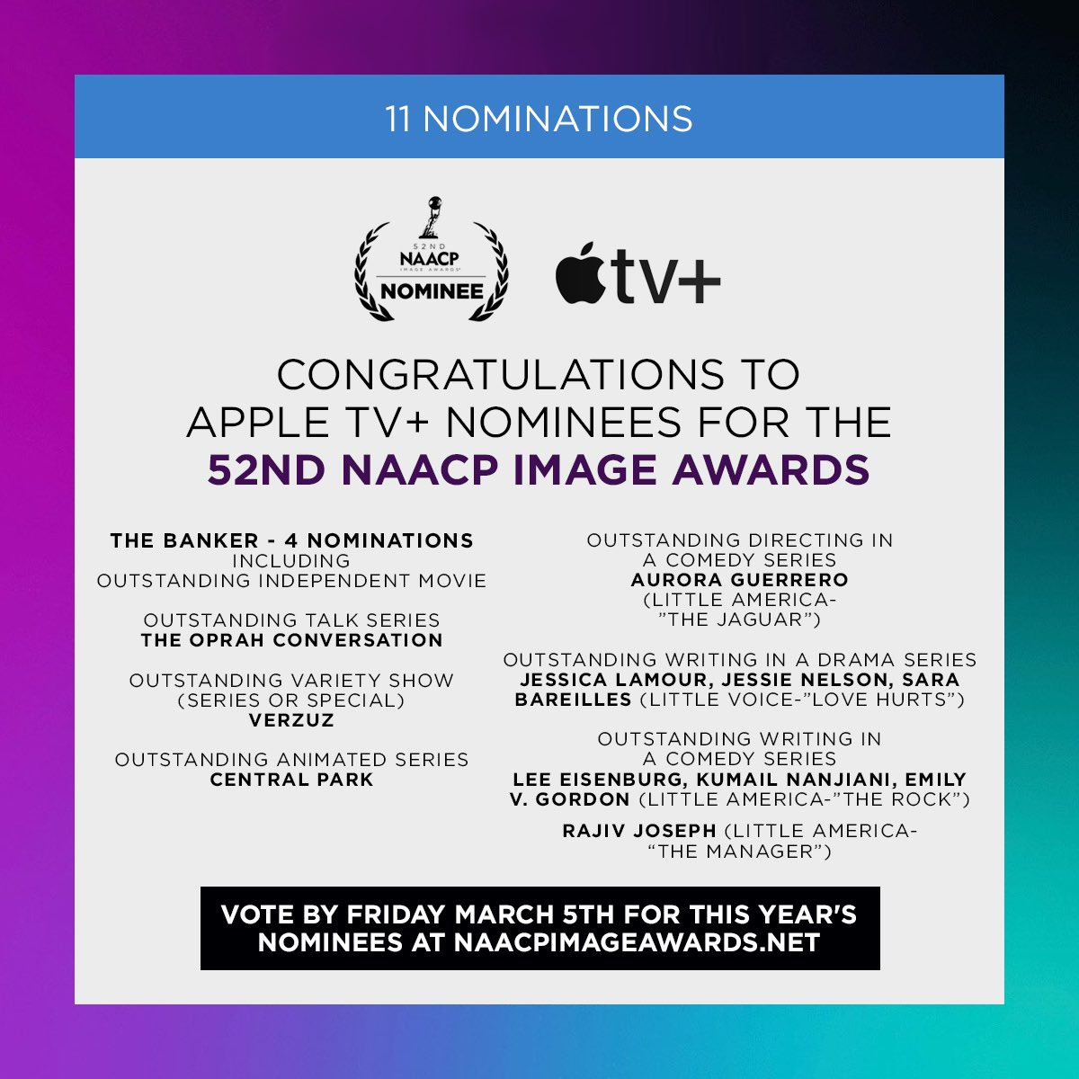 11 nominations for@Apple for this year's #NAACPImageAwards. You can view all the nominees and vote at. #TheBanker #Verzuz #CentralPark #TheOprahConversation   Today's the last day to vote