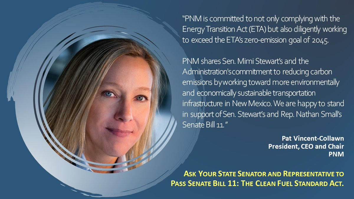 PNM is deeply committed to #NewMexico's clean energy transition & supports Senate Bill 11:  The Clean Fuel Standard Act.  👏🏽@Sen_MimiStewart  👏🏽@NathanLCNM   @NMSenateGOP @NMHouseGOP @NMSenateDems @BrianEgolf @senatorwirth  @GovMLG @NMEnvDep #NMleg #NMpol #ClimateAction