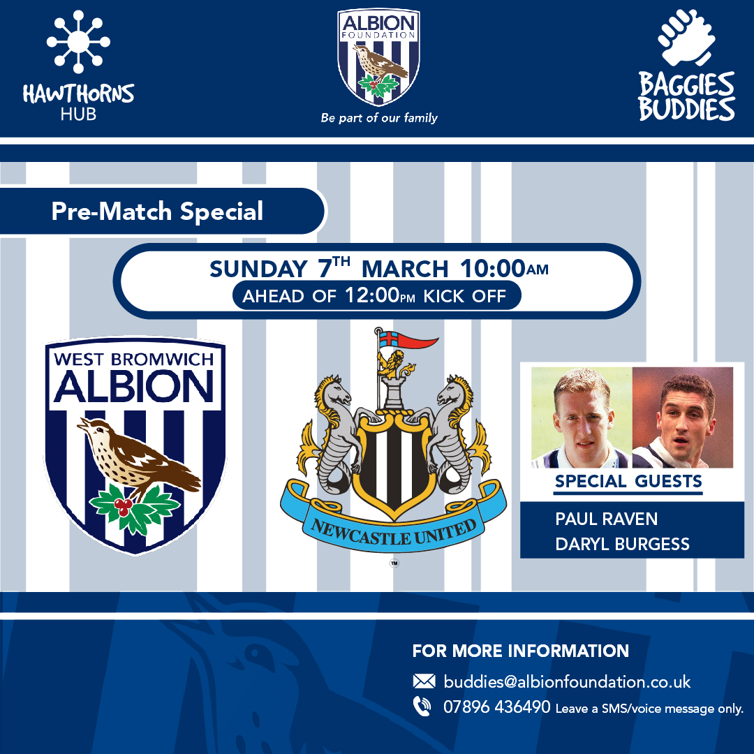 Missing your matchday social experience ?  Join us for a Pre-Match chat with special guys Paul Raven & Daryl Burgess👋.  Everyone is welcome 👍  To book your place, please email buddies@albionfoundation.co.uk  @EFLTrust   @BaggiesBuddies   #TacklingLonelinessTogether   #WBA