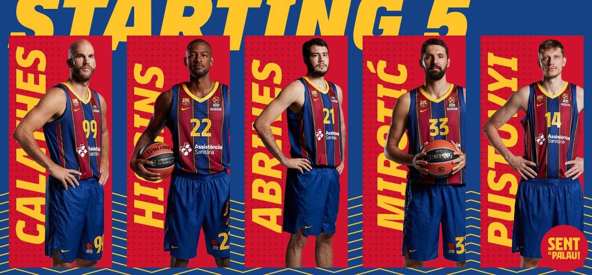 🏀 Starting 5 / 5 inicial @FCBbasket / Avui sortim amb:  Calathes Higgins Abrines Mirotic Pustovyi  🔵🔴#ForçaBarça!