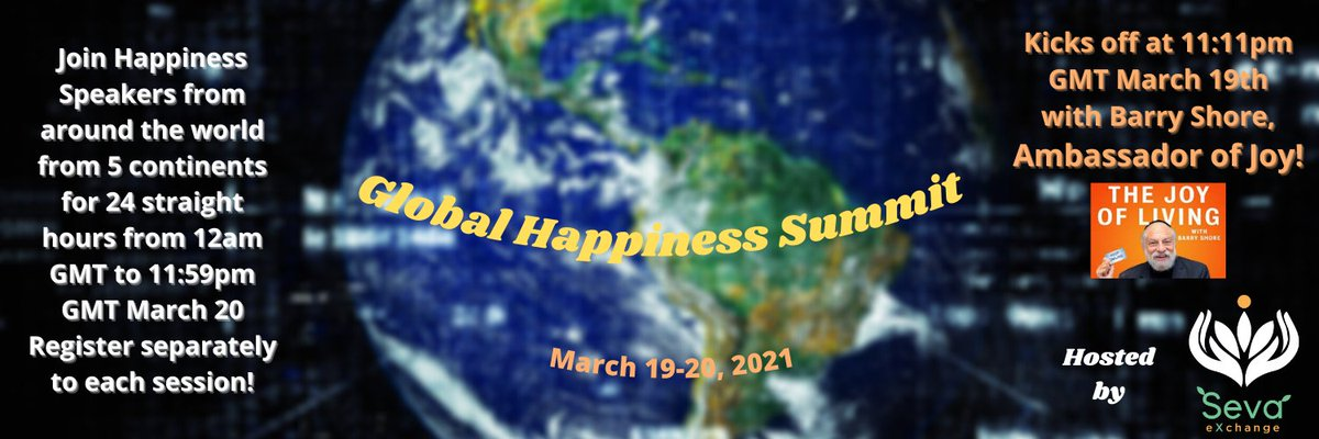 WATCH Seva Exchange's Global #Happiness Summit LIVE on 3/19 & 3/20. Register @  & Join @   All Happy Beings Welcome! @goldiehawn @actionjackson #csr #nonprofit #wellbeing #health #fitness #hr #hrtech #futureofwork #MentalHealthMatters