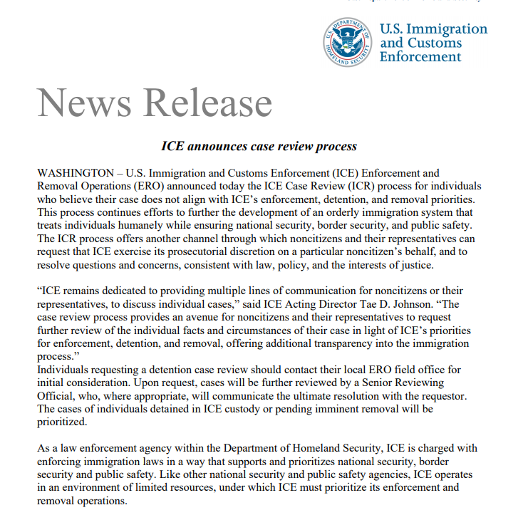 """ICE has established a process that allows immigrants and their lawyers to contest their arrest and detention if they believe their cases do not """"align"""" with the Biden administration's new enforcement policies, according to a notice sent to Congress. https://t.co/xYR6CFJTBW"""