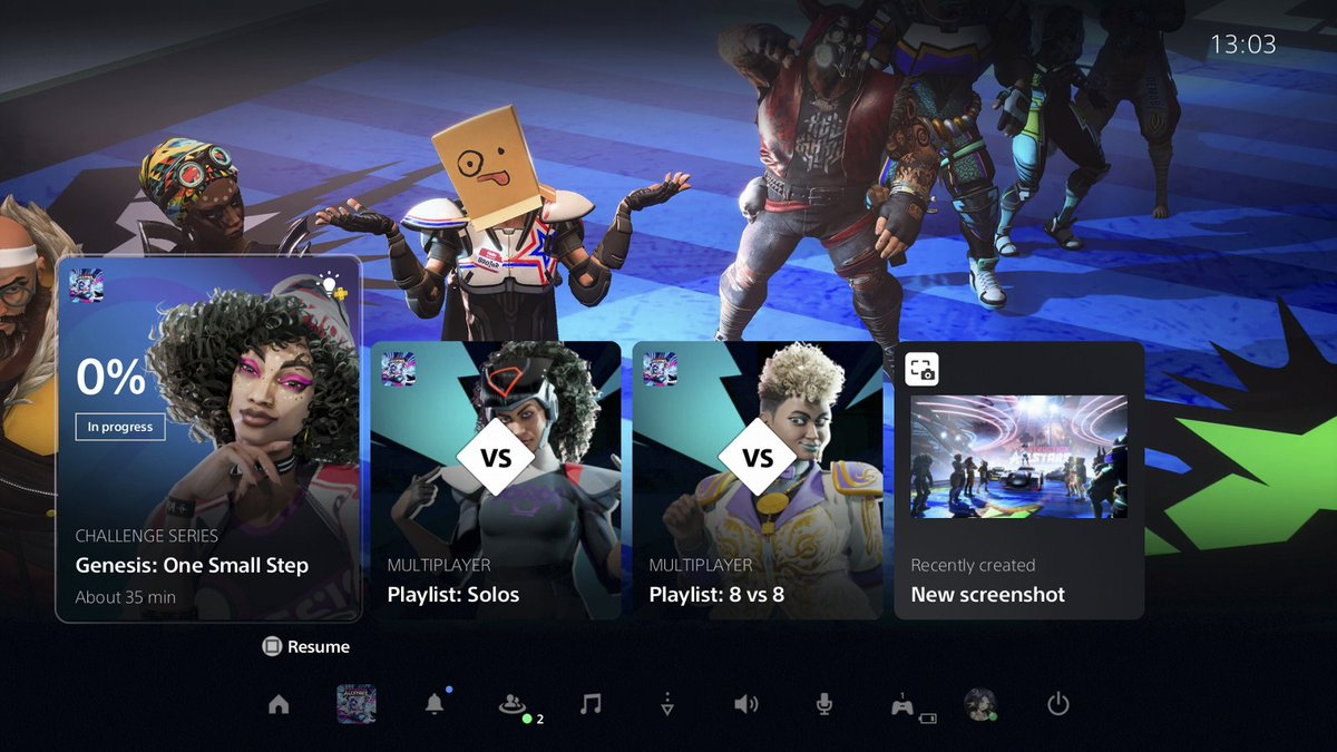 You can use the on-screen cards in the PS5 console Control Center to discover new gameplay opportunities, challenges and more: