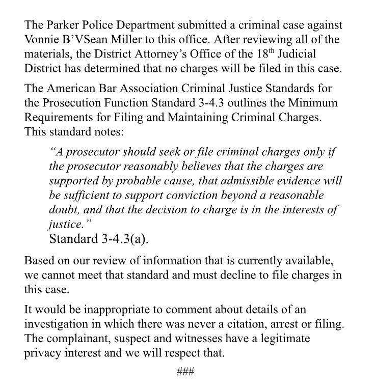 No criminal charges will be filed against #Broncos star Von Miller, per the district attorney's office. Statement: