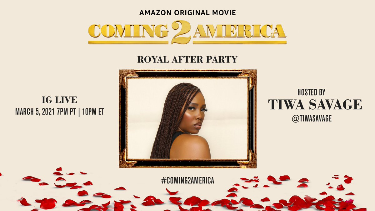 You can't stop partying after all that. Honorary Royal @TiwaSavage is keeping it going IG Live. Starting at 7pm PT/10pm ET! #Coming2America