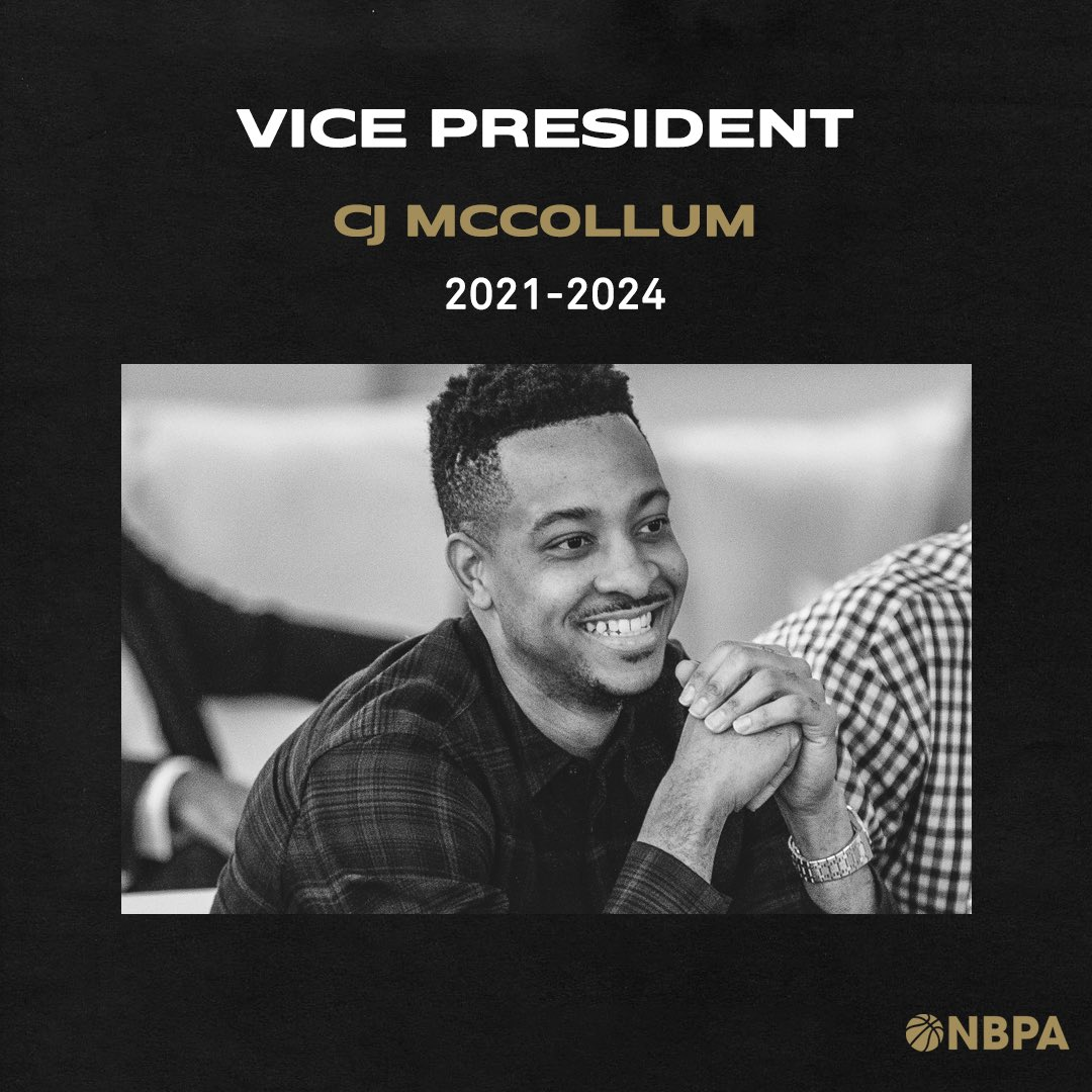 NBPA VP: CJ McCollum  Voted by the players, @CJMcCollum was re-elected as NBPA Vice President at today's Board of NBPA Player Representatives meeting and will begin his 3-year term on the NBPA Executive Committee immediately.