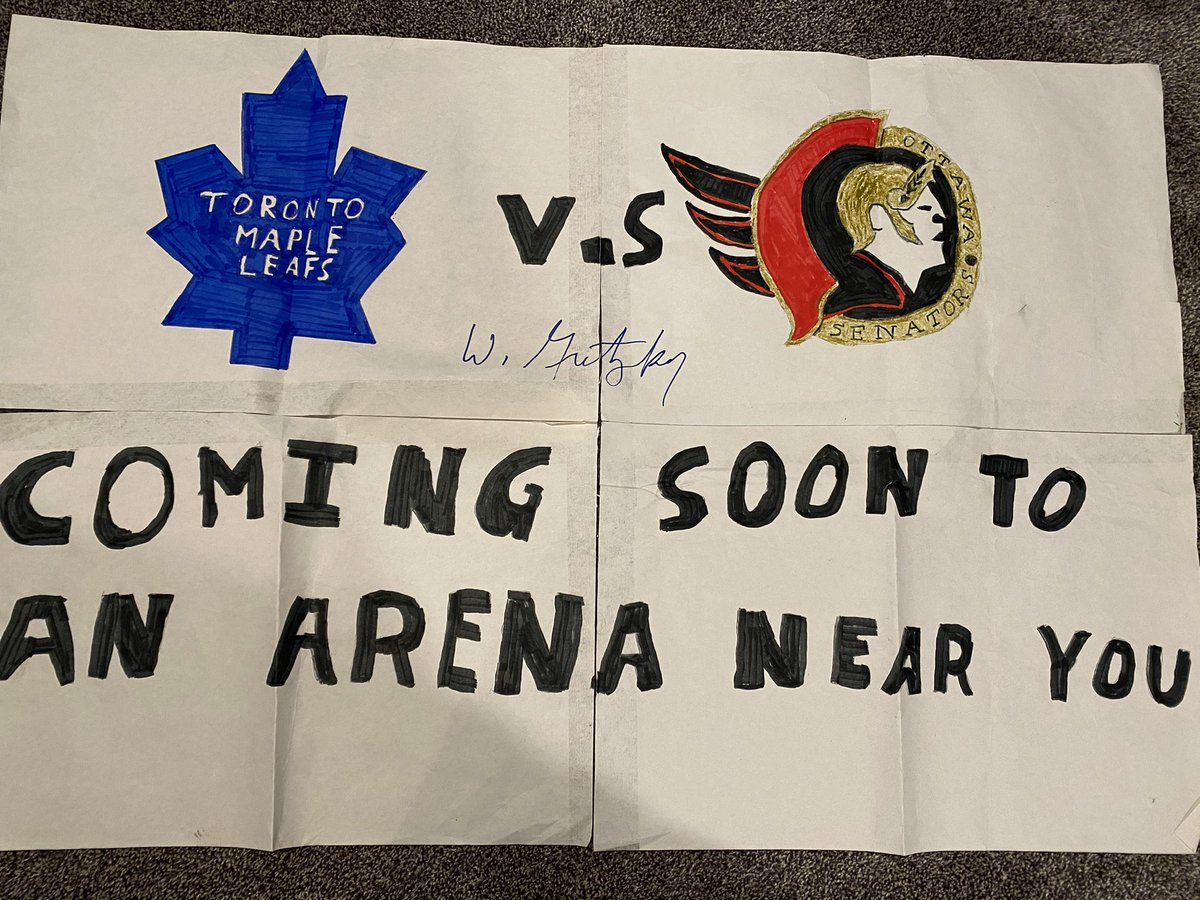 April 8, 2000: My friend and I worked up the courage to say hi to Walter Gretzky, who was sitting in our section. He signed our sign ahead of the first Battle of Ontario series. Such a nice man and so popular. Everybody wanted to meet him.