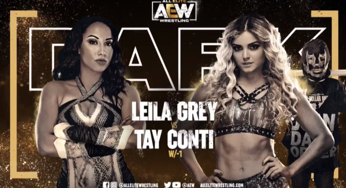 Oh hell yeah @TayConti_ got back up from #DarkOrder! Leila Grey might want to just forfeit before -1 puts the boots to her. #AEWDark #AEW #joindarkorder